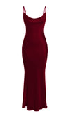 Acceptance Speech Burgundy Loose Slip Satin Sleeveless Spaghetti Strap Drape Cowl Neck Cut Out Back Maxi Dress