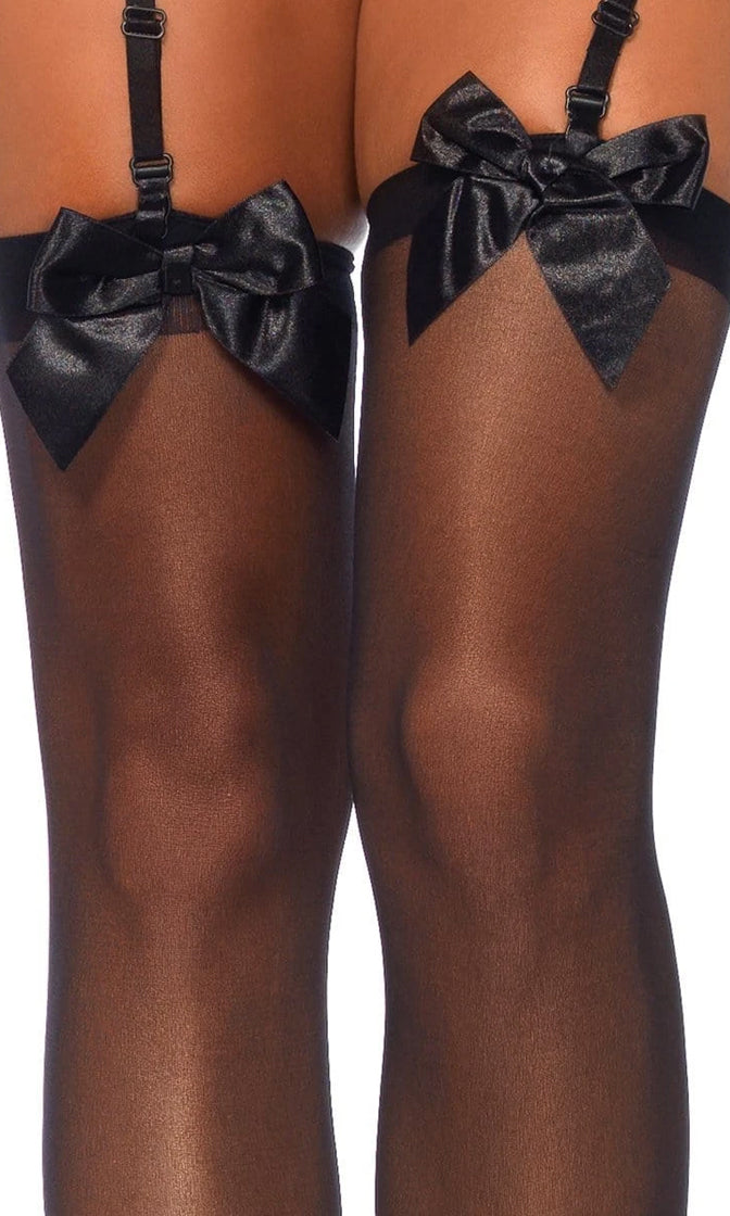 Playing Dress Up Sheer Satin Bow Thigh High Stockings Tights Hosiery - 2 Colors Available