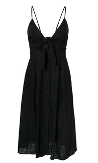 Sweet Love Sleeveless Spaghetti Strap V Neck Bow Cut Out Smocked Button A Line Casual Midi Dress - Sold Out