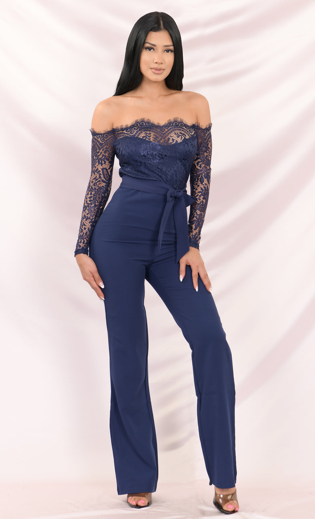 Coming For You Navy Lace Long Sleeve Off The Shoulder Straight Leg Belted Waist Jumpsuit