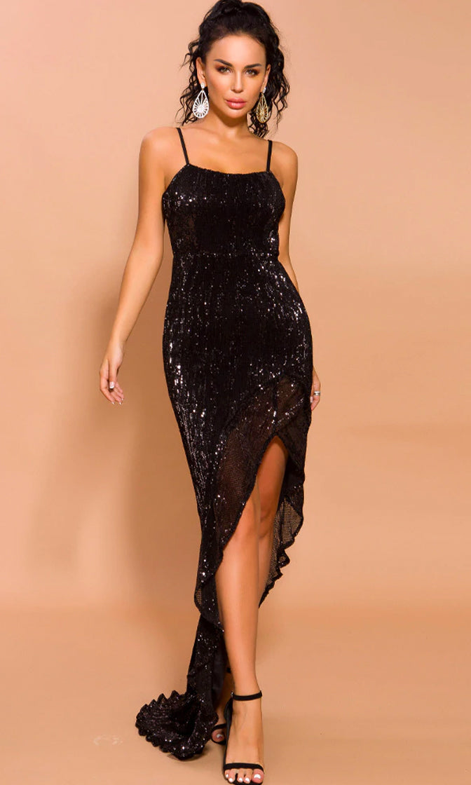 Special Lady Black Glitter Sleeveless Spaghetti Strap Scoop Neck High Slit Maxi Dress