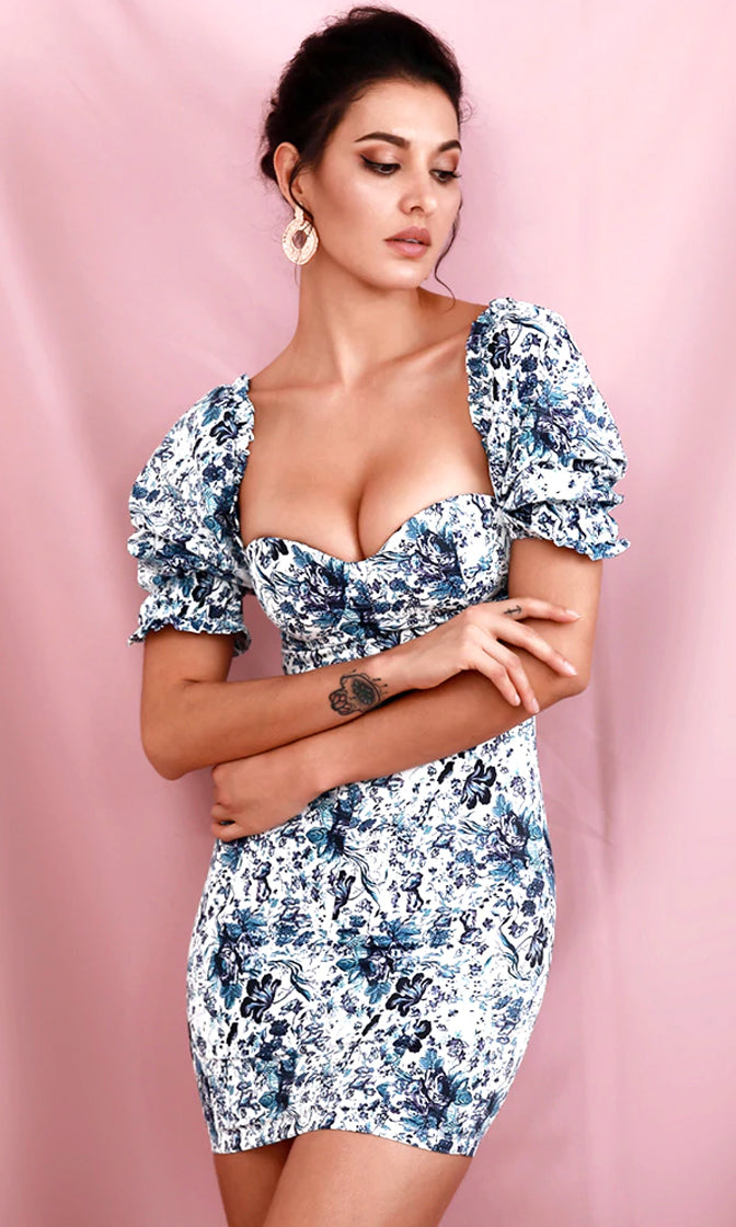 Baby Don't Lie White Blue Floral Print Short Puff Sleeve Ruffle Sweetheart Neck Bodycon Casual Mini Dress