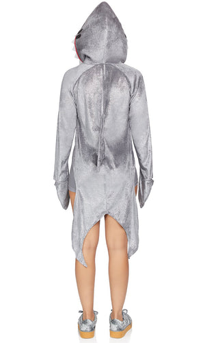 Sexy Shark Grey Glitter Velvet Sleeveless Scoop Neck Bodycon Romper Long Sleeve Hood Cape Halloween Costume