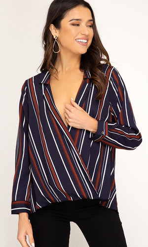 Start Of Something Big Stripe Pattern Long Sleeve Cross Wrap V Neck Blouse Top - Sold Out