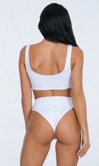 Hot Tub Hottie White Sleeveless Zipper High Waist Brazilian Two Piece Bikini Swimsuit - 3 Colors Available - Sold Out