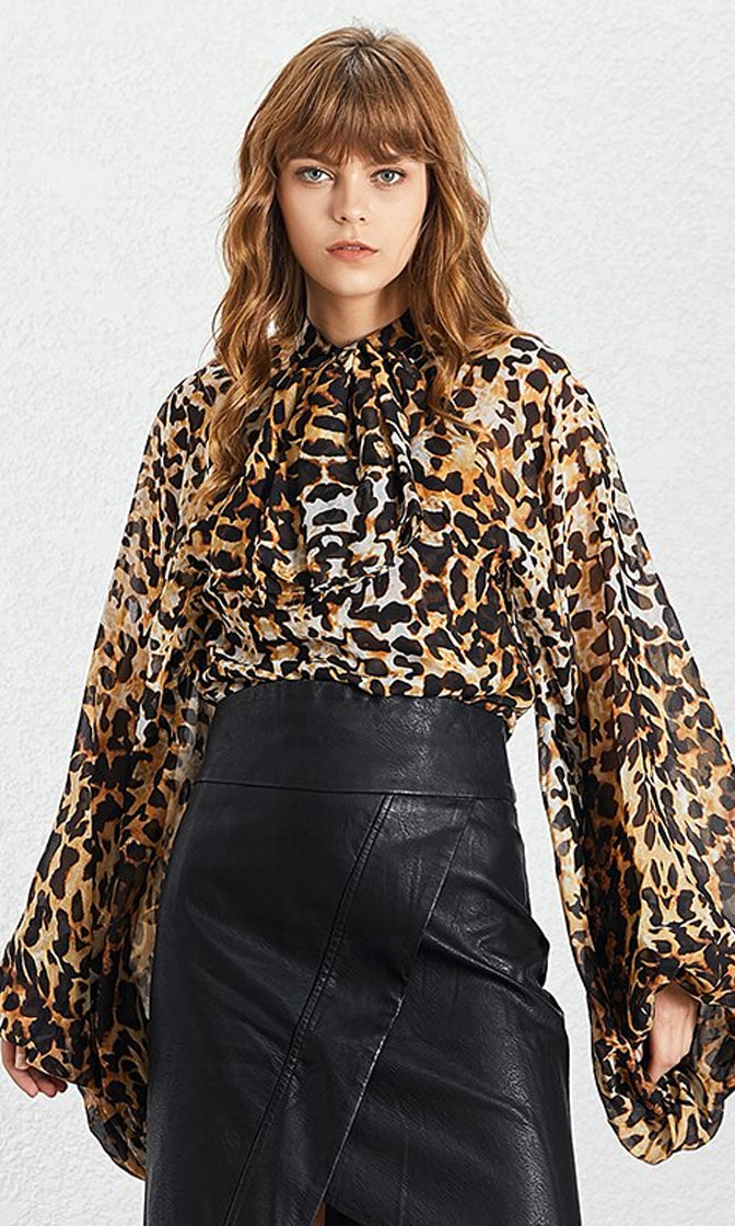 Don't Give Up Leopard Extra Long Lantern Sleeve Sheer Chiffon Bow Neck Blouse Top