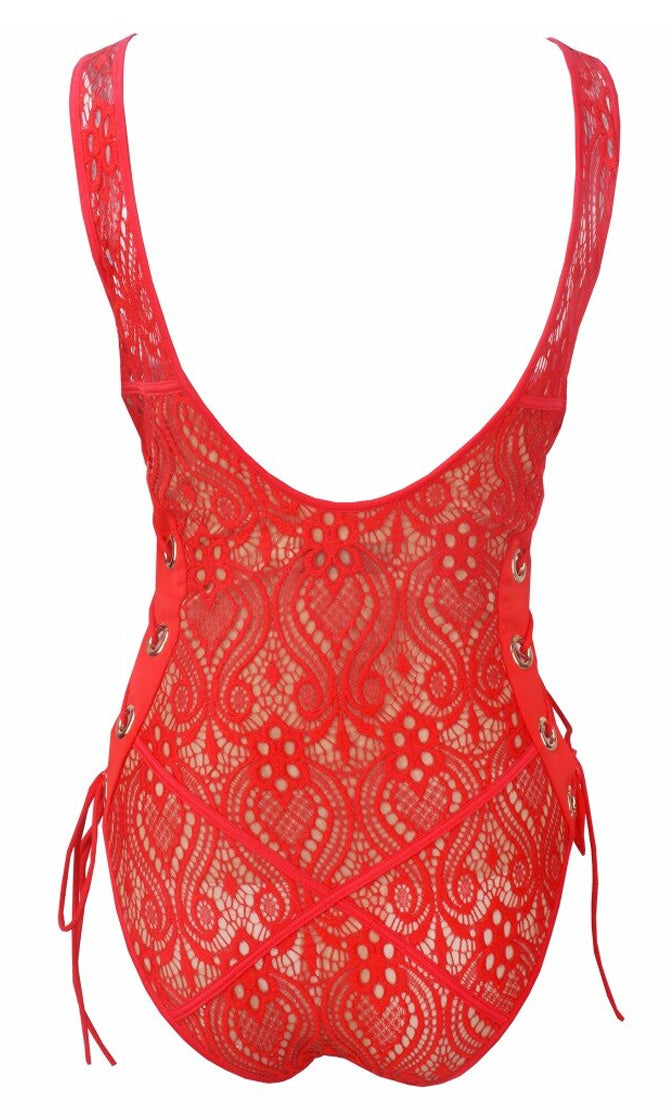 Indie XO Take Me On Vacation Red Lace Overlay Beige Lined Grommet Tie Front Side Scoop Neck Tank Monokini One Piece Swimsuit