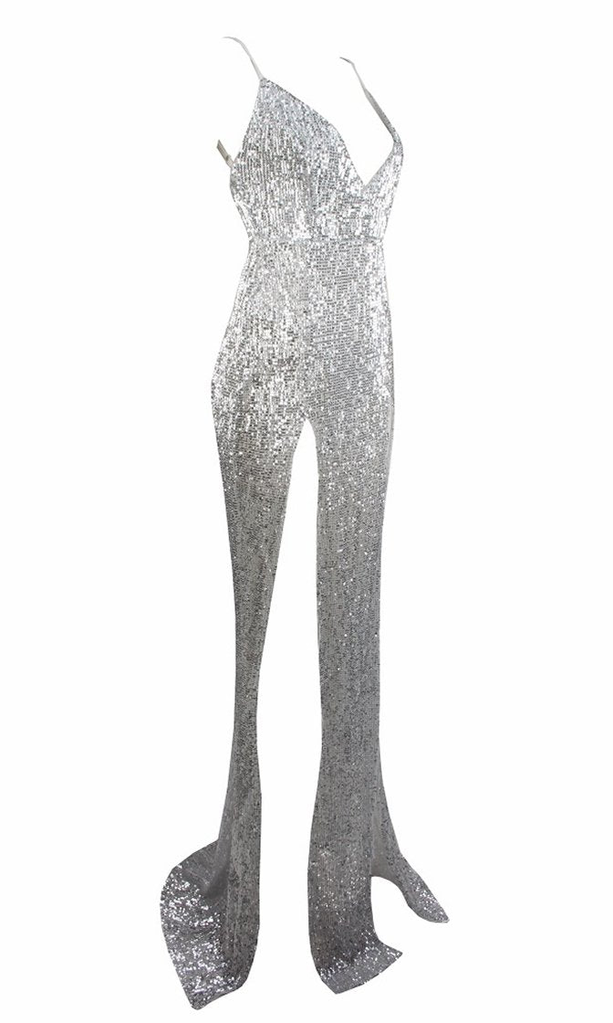 Mystery Girl Silver Sequin Sleeveless Spaghetti Strap Plunge V Neck Backless Double Slit Maxi Dress
