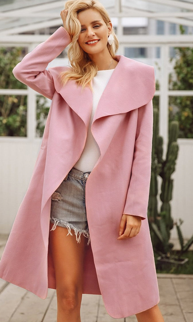 Woolen Dreams Long Sleeve Wool Blend Oversized Lapels Belted Knee Length Coat Outerwear - 3 Colors Available - Sold Out
