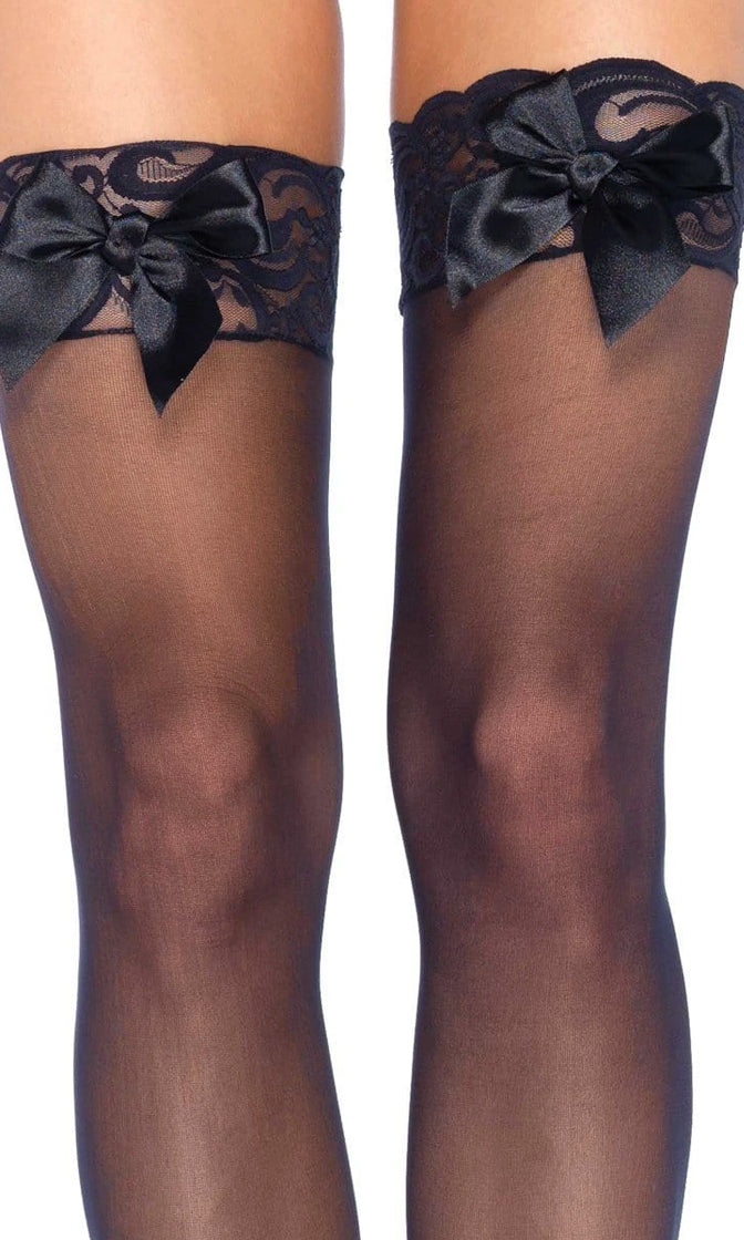 Feel Pretty Sheer Lace Satin Bow Thigh High Stockings Tights Hosiery - 2 Colors Available