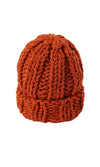 Wooly Mammoth Chunky Knit Rolled Cuff Winter Beanie Hat - 4 Colors Available