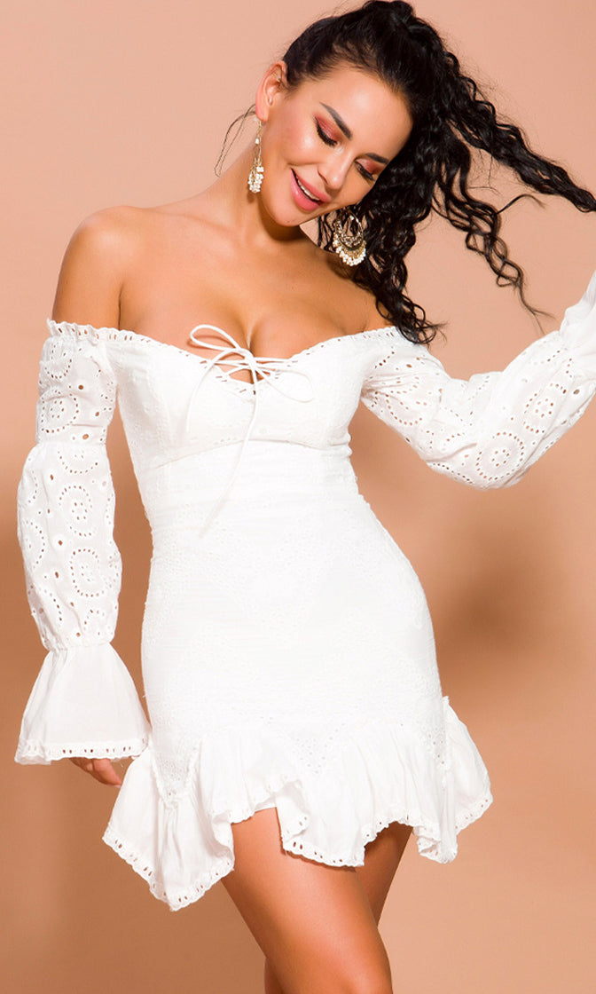 My Love White Lace Long Lantern Sleeve Off The Shoulder V Neck Lace Up Ruffle Casual Mini Dress