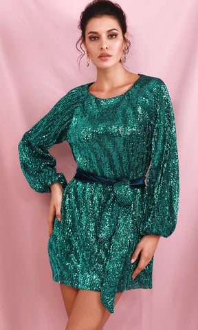 So Much More Emerald Green Velvet Rhinestone Long Sleeve Cross Wrap V Neck Flare A Line Mini Dress