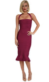 Safe With You Berry Sleeveless Halter Square Neck Bodycon Bandage Fish Tail Midi Dress - Sold Out