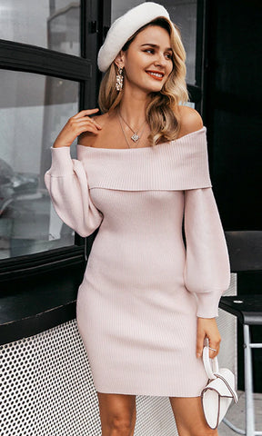 Raise Your Glass Pink Sequin Long Lantern Sleeve Round Neck Bodycon Mini Dress