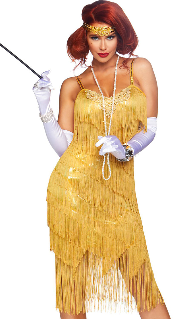 Flirty Flapper Gold Sleeveless Spaghetti Strap Fringe Tier Flapper Midi Shift Dress Halloween Costume