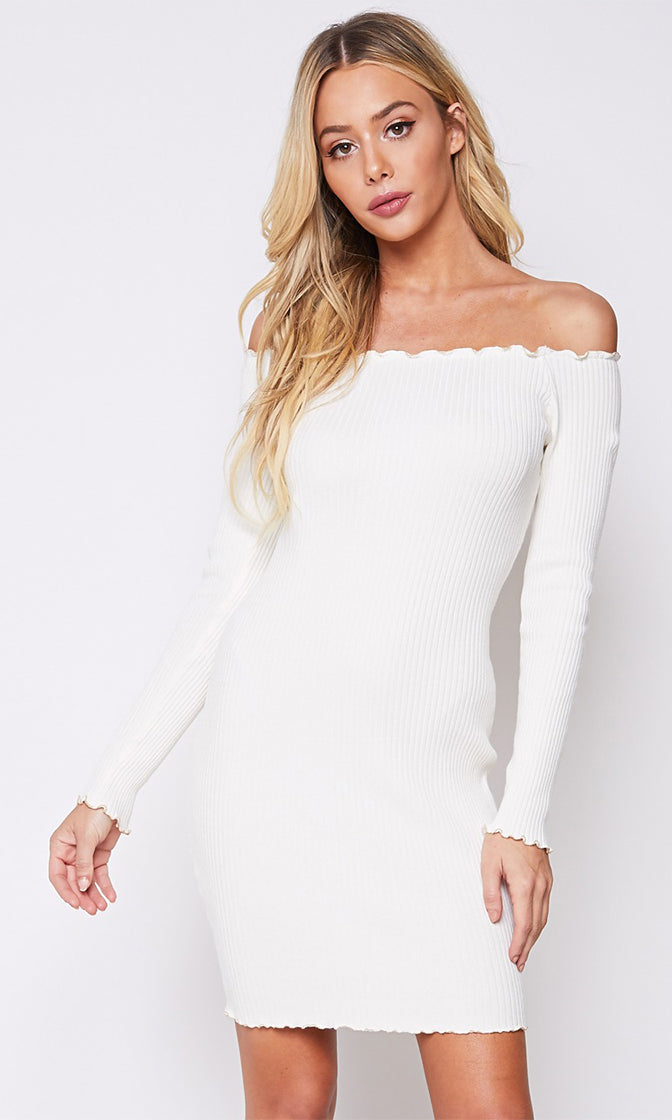 Chasing My Clout White Ribbed Long Sleeve Lettuce Edge Ruffle Off The Shoulder Casual Bodycon Mini Dress