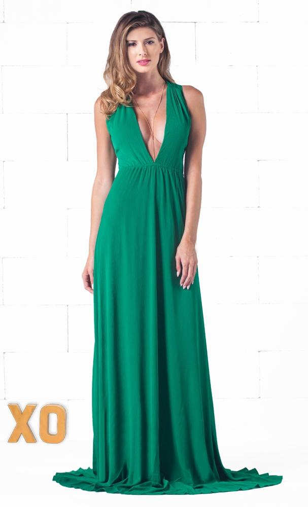 Indie XO Rooftop Gardens Green Sleeveless Scoop Neck Chiffon Cut Out Back Maxi Dress Gown - Just Ours!