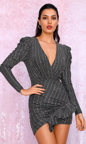 Crazy Mad Black White Stripe Diamond Geometric Pattern Long Sleeve Coat Bodycon Mini Dress Halloween Costume