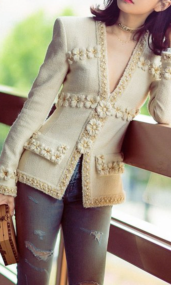 Perfectly Polished Beige Long Sleeve Floral Applique Beaded V Neck Blazer Jacket Outerwear - Sold Out