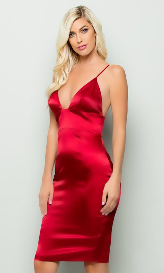 Ooh La La Red Satin Sleeveless Spaghetti Strap Plunge V Neck Bodycon Midi Dress