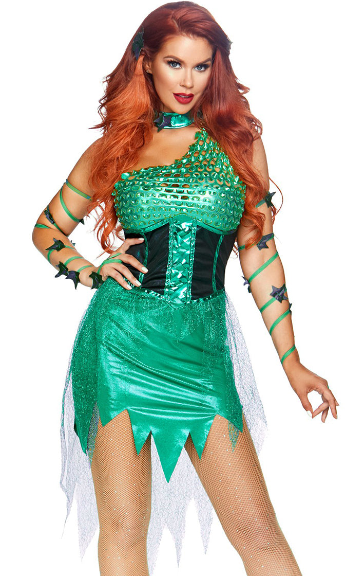 Ivy Leaf Green Sleeveless One Shoulder Cut Out Asymmetric Mini Dress Halloween Costume