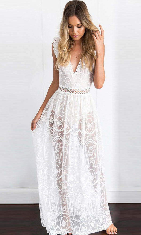Dream Of Me White Sheer Mesh Nude Lining Lace Sleeveless Ruffle Deep V Neck  Cut Out dcaaf80bb