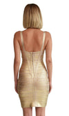 Party Girl Gold Metallic Foil Sleeveless V Neck Bandage Bodycon Mini Dress - Sold Out