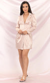 Hooked On You Light Pink Satin Cinched Corset Waist V Neck Long Sleeve Blazer Mini Dress