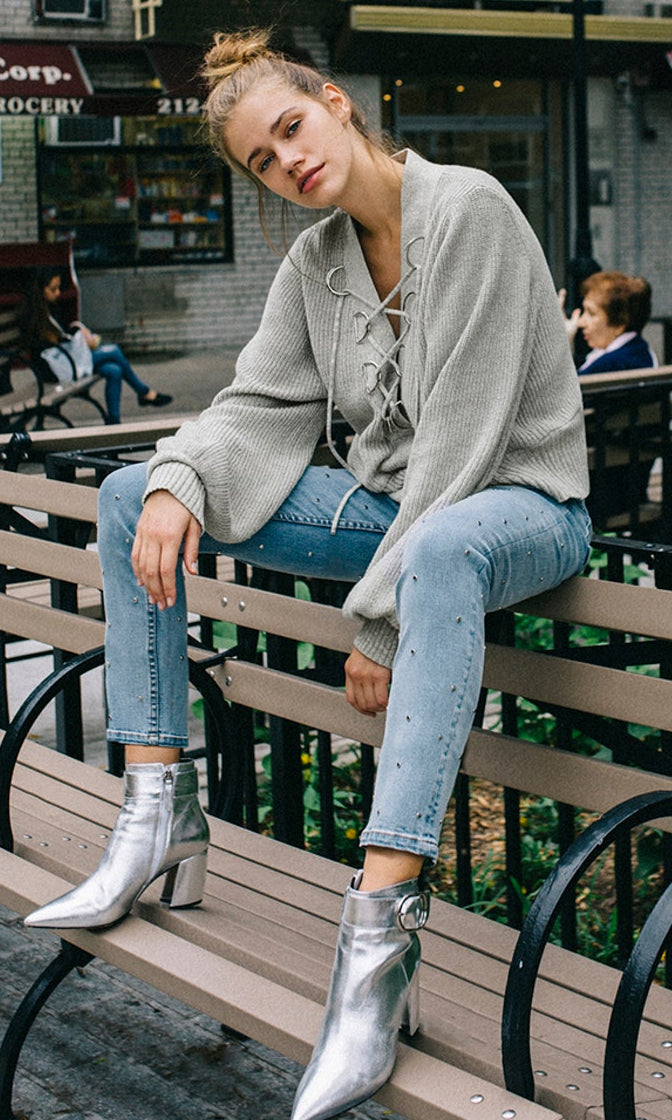Kick Back Grey Long Lantern Sleeve V Neck Lace Up Pullover Sweater