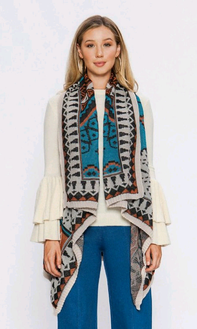 Venus Visions Multicolor Tribal Blue Cream Geometric Pattern Contrast Long Flare Sleeve Open Front Cardigan Sweater