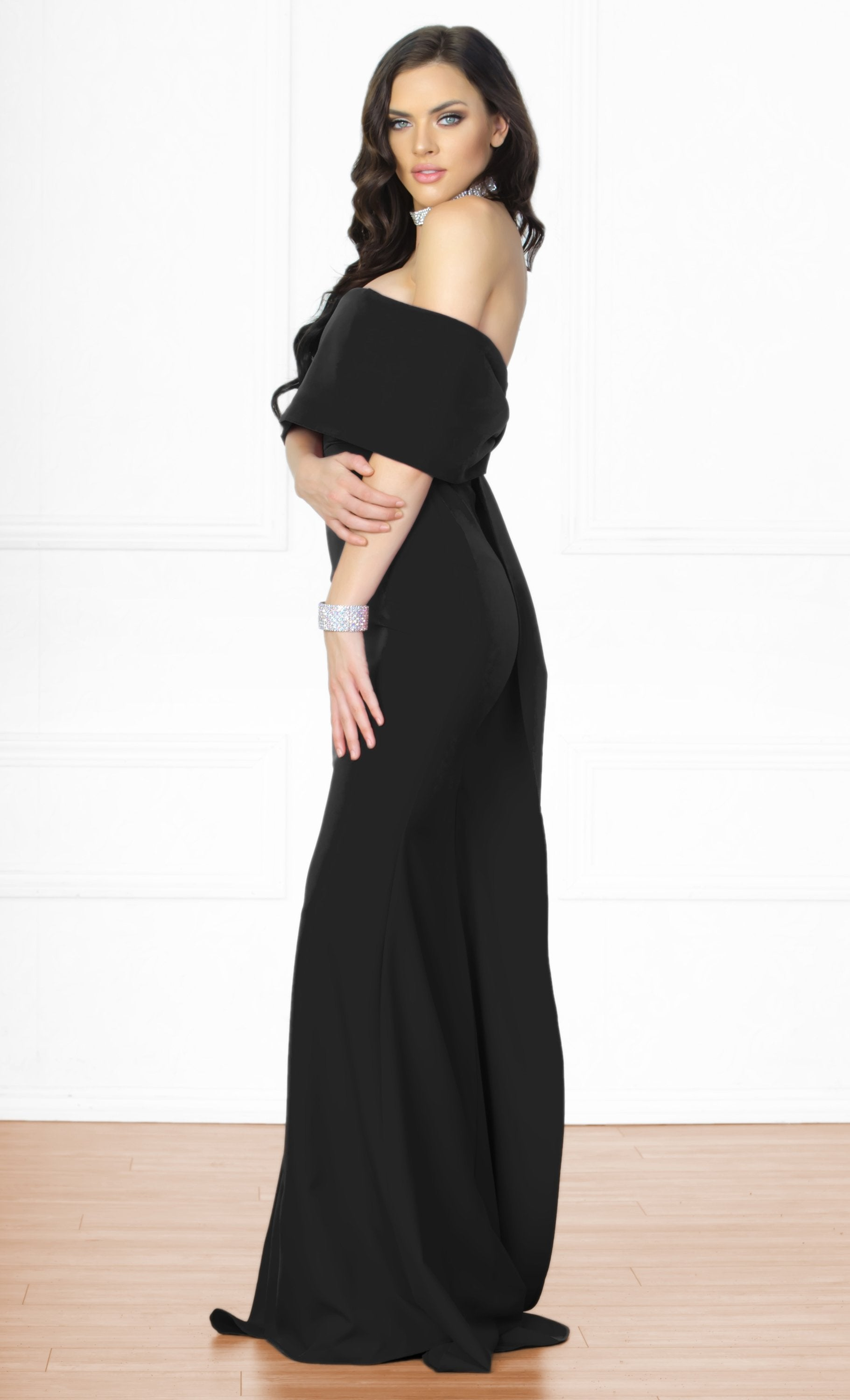 Indie XO Dress You Up Black Short Sleeve Off The Shoulder Bow Back Slit Maxi Dress Evening Gown