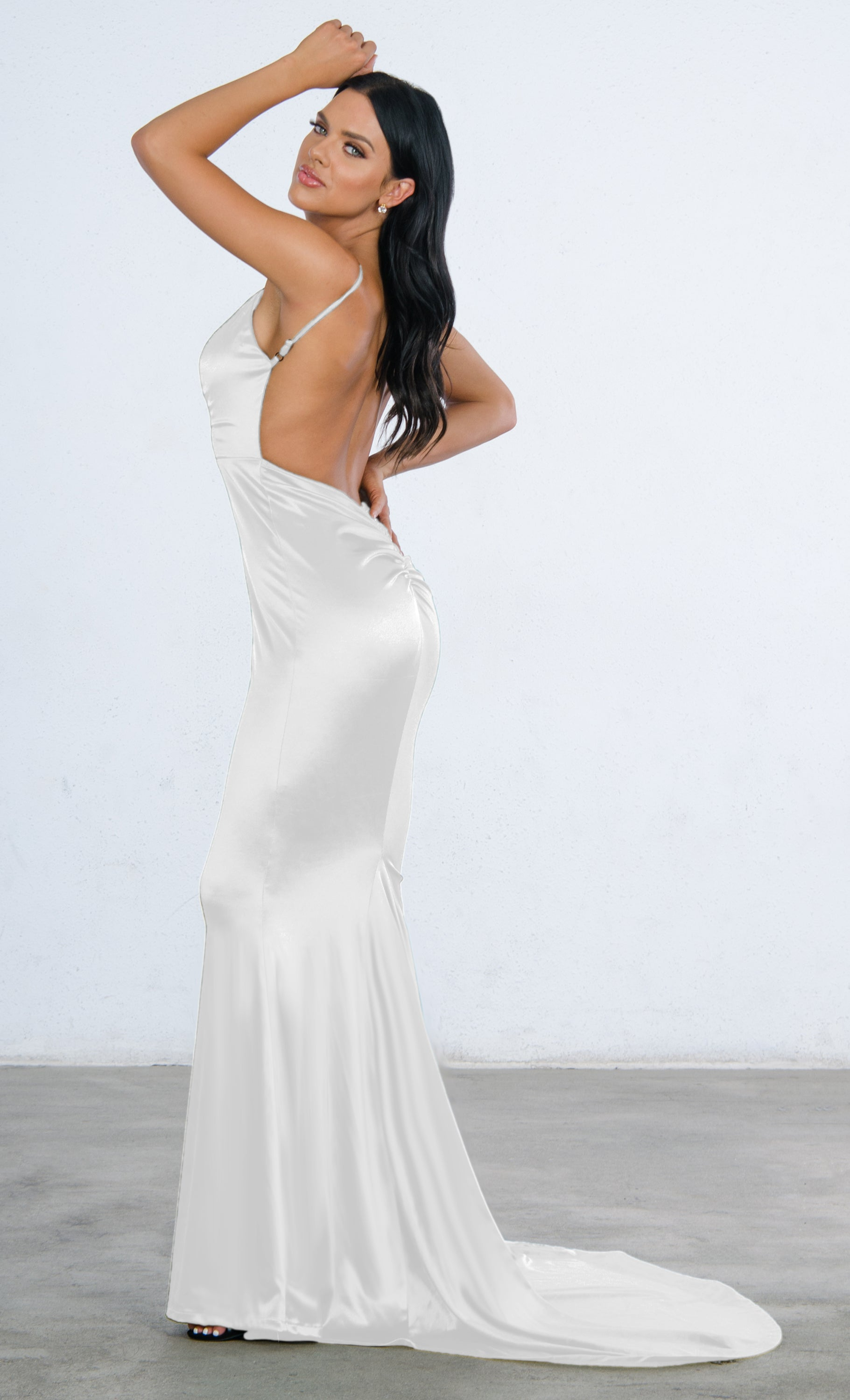 Indie XO Glowing Goddess Sleeveless Spaghetti Strap Plunge V Neck Ruched Back Mermaid Maxi Dress - 3 Colors Available