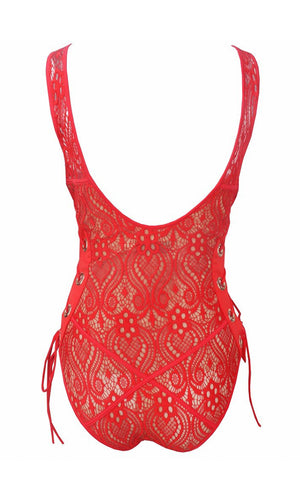 Take Me On Vacation Yellow Lace Overlay Beige Lined Grommet Tie Front Side Scoop Neck Tank Monokini One Piece Swimsuit