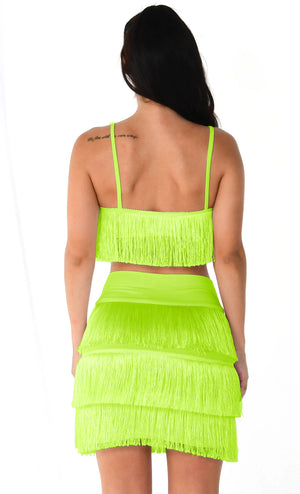 Santiago Sweetheart Neon Coral Sleeveless Spaghetti Strap Fringe Crop Top Mini Short Two Piece Dress