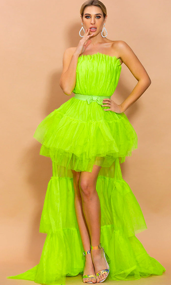 Can't Stop Me Neon Green Mesh Bow Waist Tulle Strapless Ruffle Tier High Low Maxi Dress