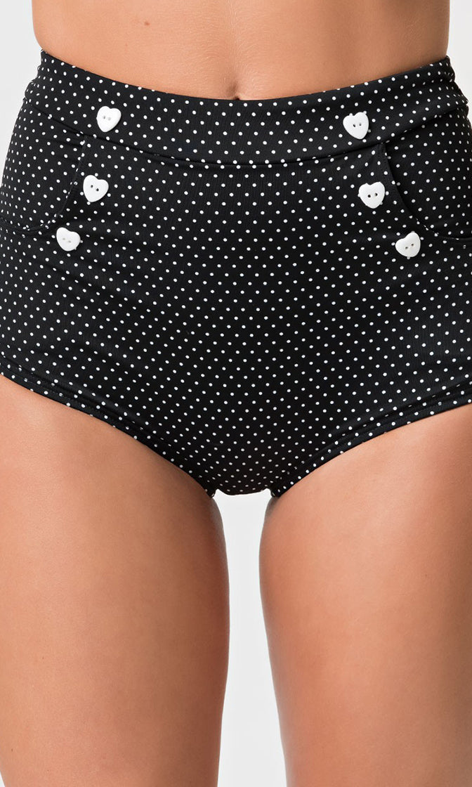 On The Horizon Black White Polka Dot Pattern High Waist Heart Button Bikini Swimsuit Bottom