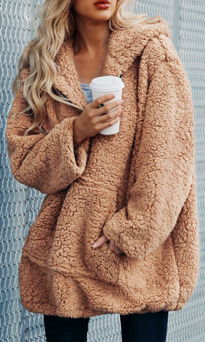 Morning Mist Faux Teddy Fur Long Sleeve Hood Half Zipper Pullover Coat Outerwear - 2 Colors Available