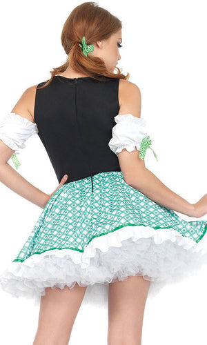 Luck Of The Irish Green White Clover Floral Pattern Short Sleeve Off The Shoulder Lace Up Ruffle Flare A Line Mini Dress Halloween Costume