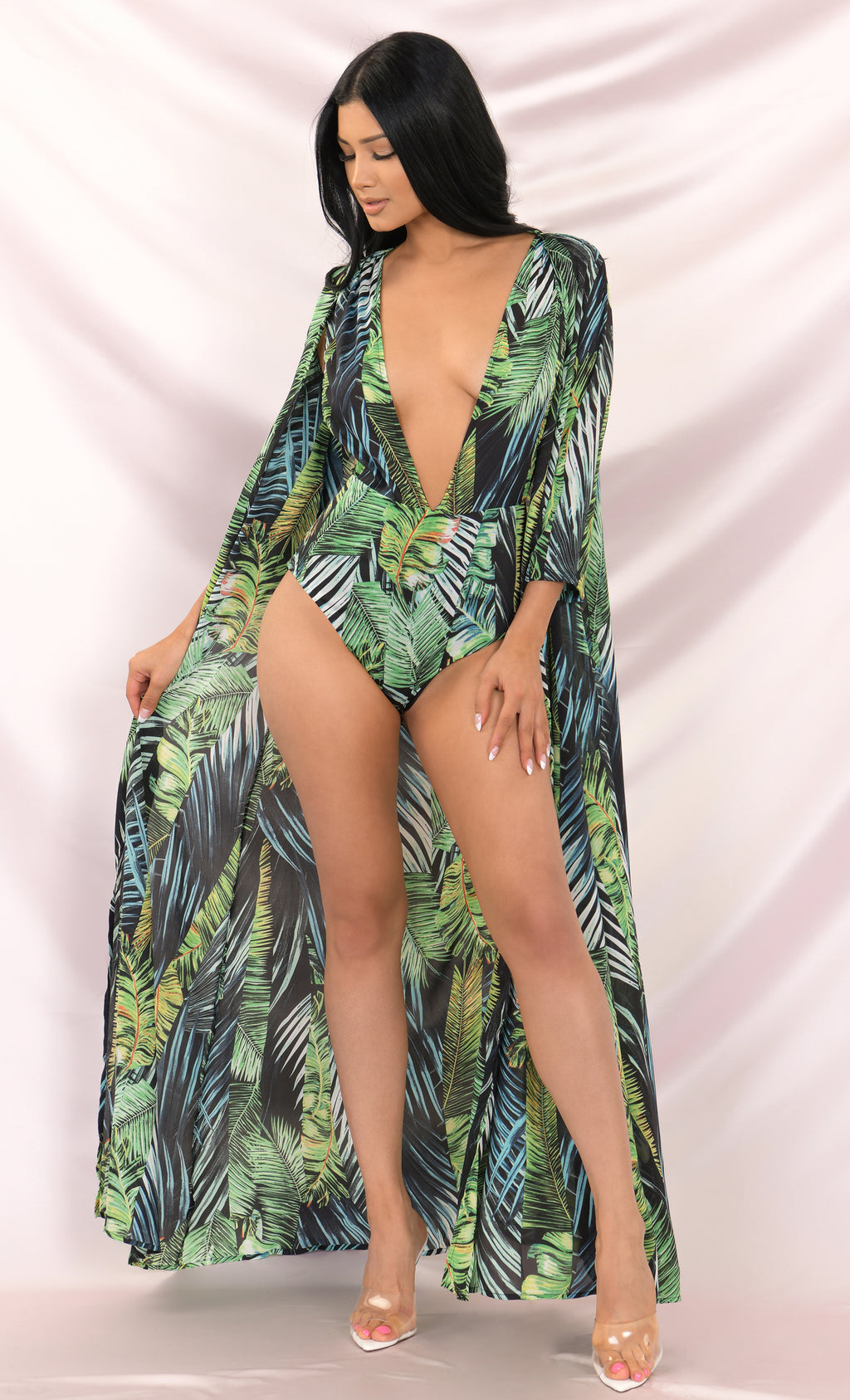Midnight In Miami Green Leaf Pattern 3/4 Sleeve Plunge V Neck Bodysuit Top Maxi Dress