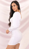 Poetry In Motion White Puff Long Sleeve Sweetheart Neckline Bodycon Mini Dress