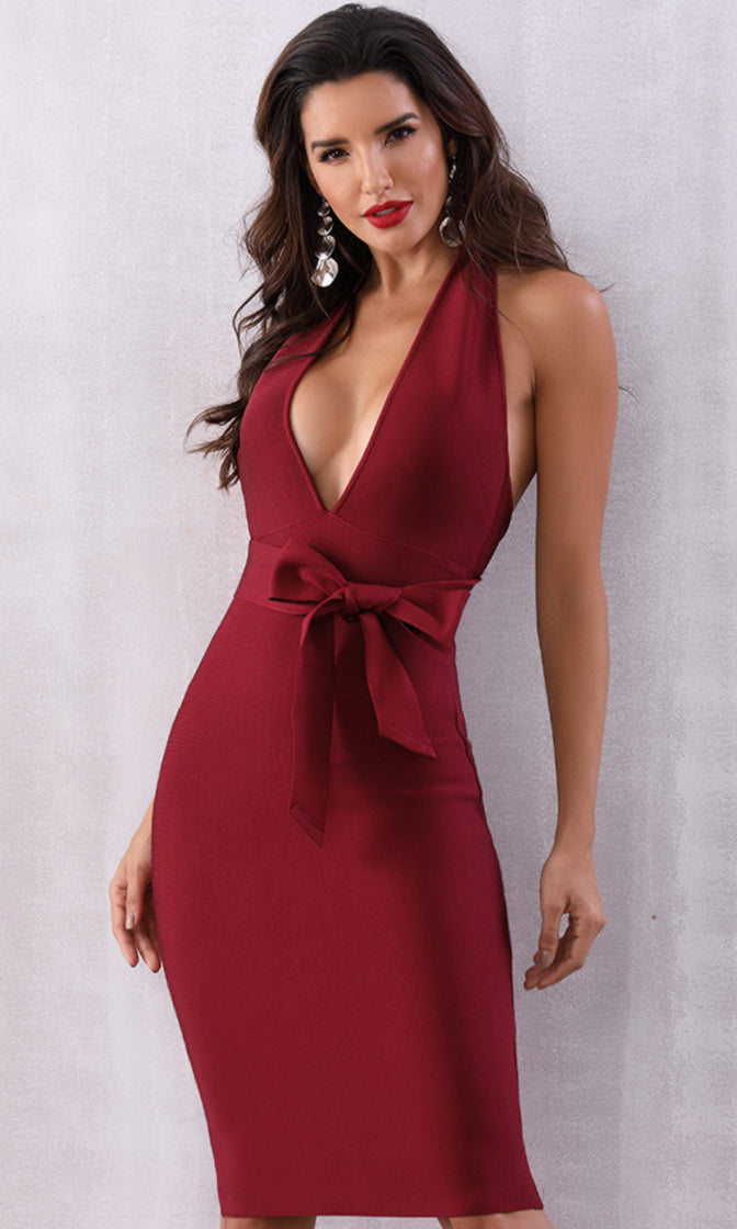 You re My Person Burgundy Sleeveless Backless Plunge V Neck Halter Tie  Waist Bodycon Bandage 059a7894d