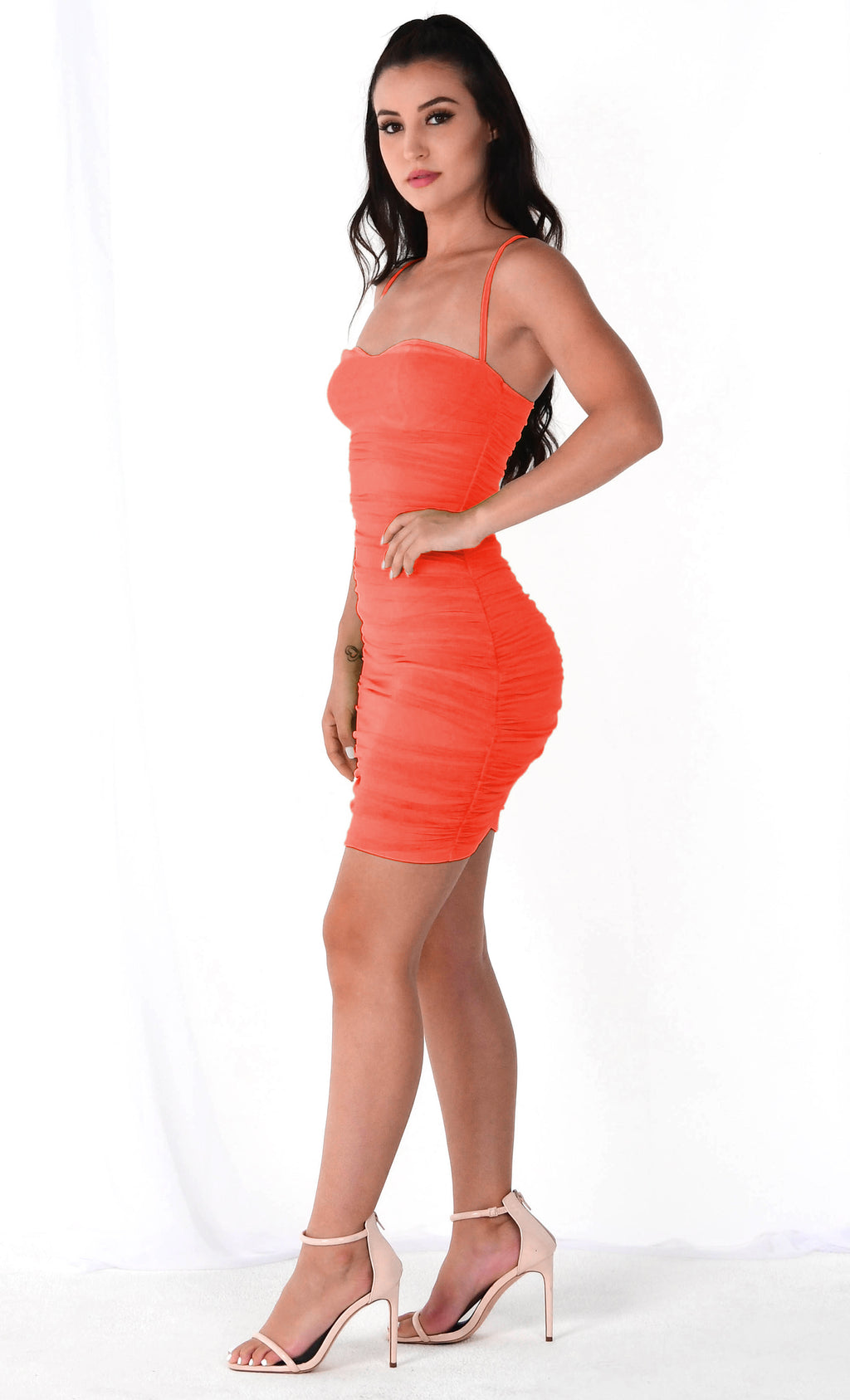 Light Bright Orange Sheer Mesh Sleeveless Spaghetti Strap Straight Neckline Ruched Bodycon Mini Dress
