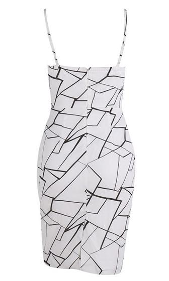 Fine Print White Black Geometric Sleeveless Spaghetti strap Plunge V Neck Bodycon Midi Dress