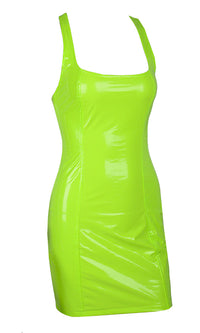 Turn Up Tonight Neon Green PU Patent Faux Leather Sleeveless Scoop Neck Racerback Bodycon Mini Dress