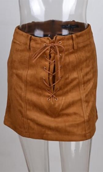 New Frontier Brown Faux Suede Lace Up A Line Mini Skirt - Sold Out