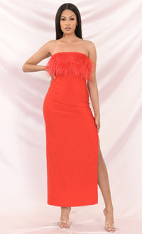 Ring On My Finger Strapless Feather Fringe High Slit Bodycon Bandage Maxi Dress - 2 Colors Available