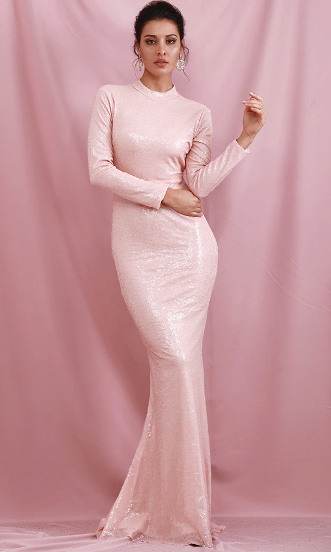 The Real Thing Pink Sequin Long Sleeve Mock Neck Rhinestone Cut Out Back Maxi Dress
