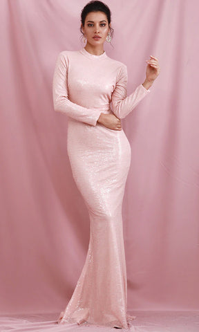 Dangerous Liaison Silver Stretchy Sequin Long Sleeve Feather Off The Shoulder Maxi Dress