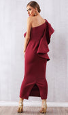 Blowing You Away Burgundy Sleeveless One Shoulder Ruffle Bodycon Maxi Dress